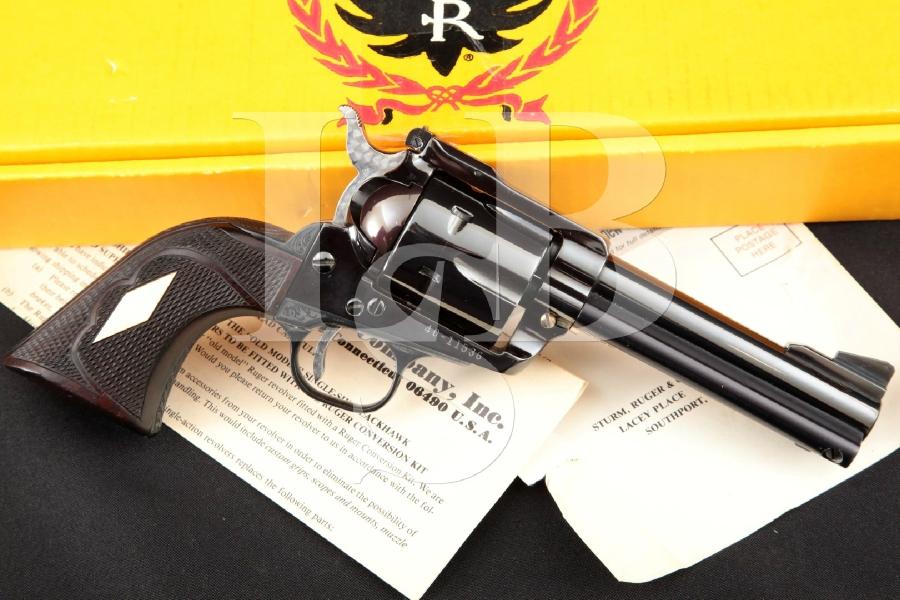 """Ruger, Custom 3-Screw Pre-Warning Old Model Blackhawk, Engraved Blue & Ported 4 5/8"""" 6-Shot Single Action Revolver & Box, MFD 1970"""
