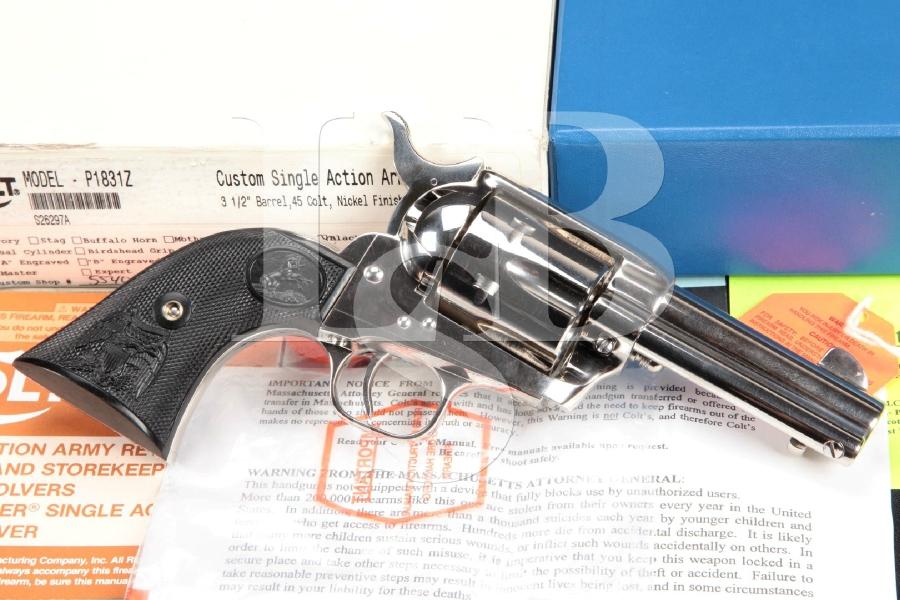 "SHARP Colt Custom Shop 3rd Generation SAA, Nickel 3 ½"" Single Action Army Revolver & Box, MFD 1999"