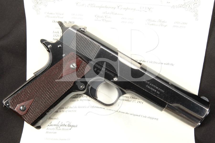 "SHARP Pre-WWI Colt Government Model 1911, Canadian Shipped, Bright Blue 5"" Semi-Automatic Pistol & Colt Letter, MFD 1914 C&R"