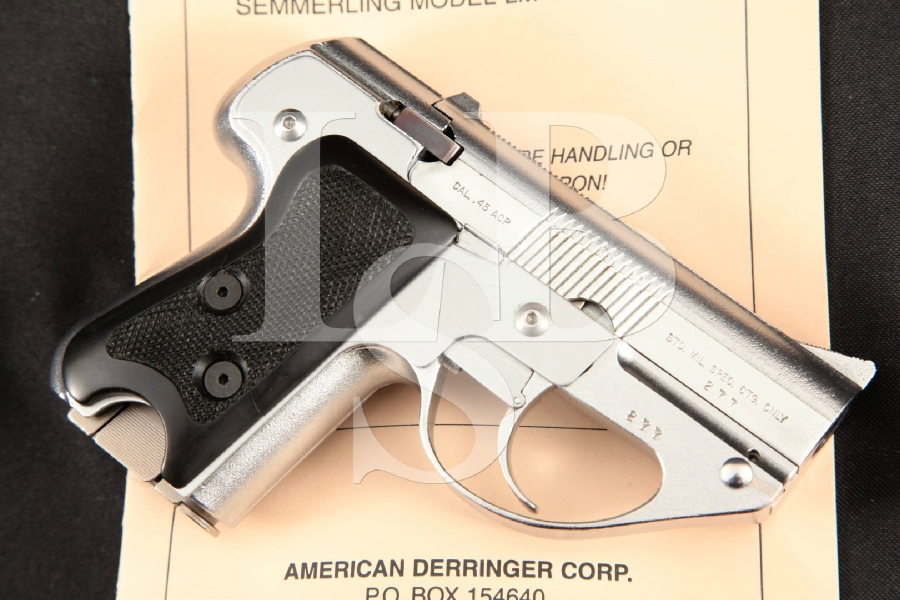 """Semmerling Corporation Semmerling Lichtman Model LM-4, Rare Chrome 3 5/8"""" Double Action Only DAO Manually Operated Pistol"""