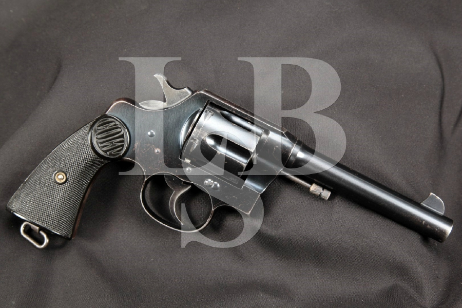 """Sharp Canadian NW Mounted Police Marked Colt, New Service Model, Blue 5 ½"""" Double Action Revolver, MFD 1917 C&R"""