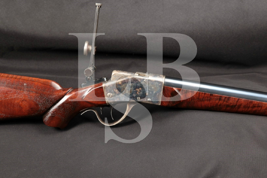 "Sharps-Borchardt Model 1878 Sporting Blue & Case 32"" Falling Block Rifle & Soule Sights, Antique"