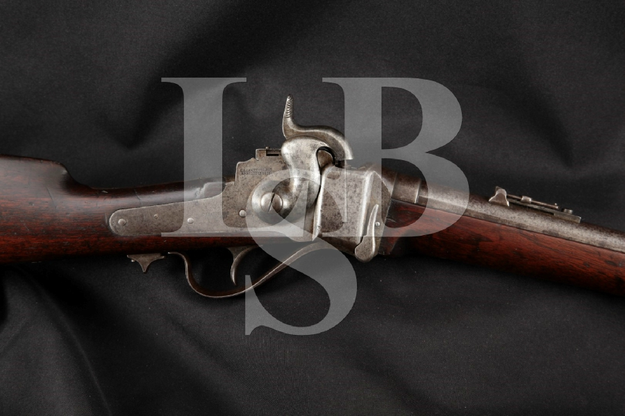 "Sharps New Model 1863 Carbine Falling Block Percussion U.S. Marked 22"" Rifle, No Patchbox, MFD 1863-65 Antique"