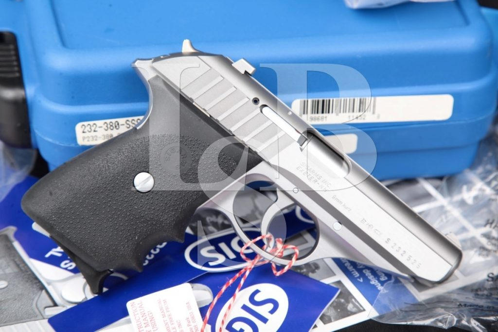 Sig Sauer Model P232 Sl, Stainless Steel 3 1/2″ SA/DA Semi-Automatic Pistol, Case & Paperwork, MFD 2001 .380 ACP
