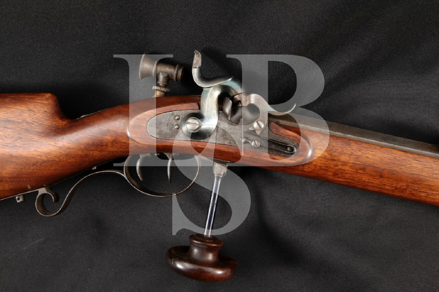 "Simson & Co. S&C Suhl Schuetzen Double Set Trigger Target Model, Blue 29 ½"" Single Shot Percussion Rifle, MFD 1800's Antique"