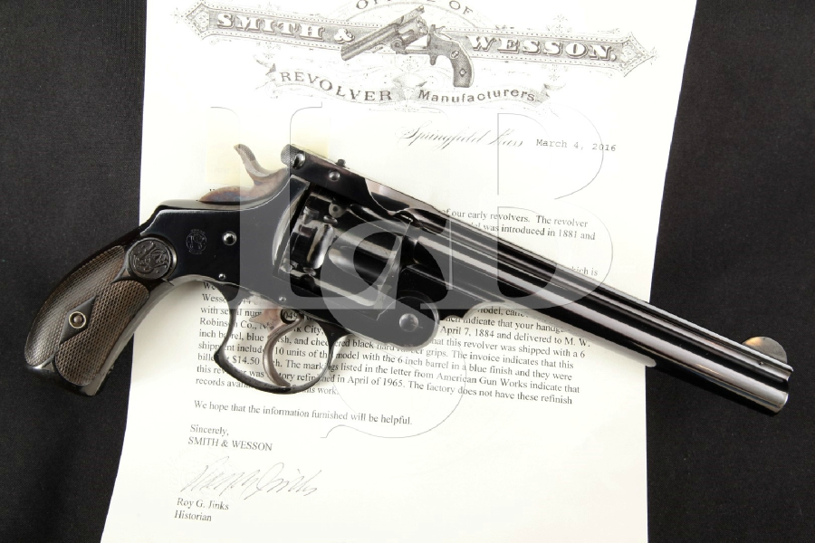 """Smith & Wesson S&W .44 DA 1st Model (Factory Refinished), Blue 6"""" 6-Shot Double Action Revolver, MFD 1884 Antique"""
