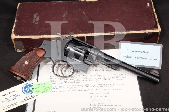 "Smith & Wesson S&W .44 Spl Hand Ejector 2nd Model Ray A. Cheely Collection 6.5"" Revolver & Box 1925"