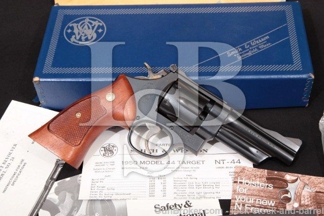Smith & Wesson S&W 24-3 1950 Reintroduction 100782 Blue 4″ SA/DA Revolver & Box, MFD 1984 .44 Special