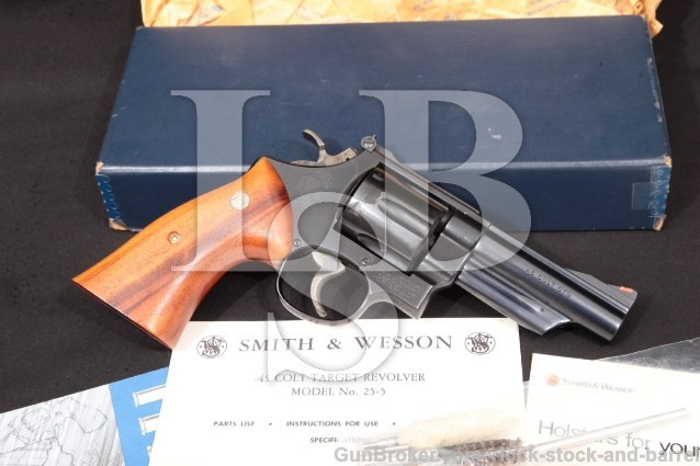 Smith & Wesson S&W 25-5 1955 Target Blue 45 Colt 4″ Pinned Double Action Revolver & Box 1979-1980