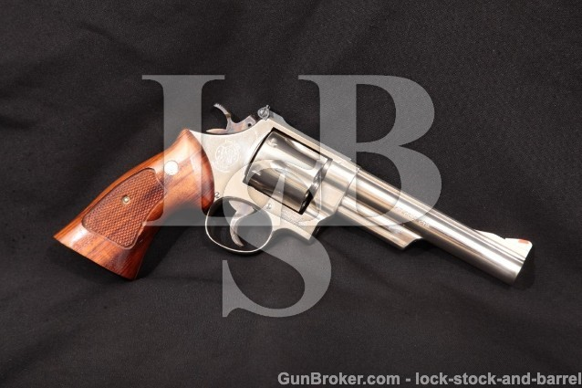 "Smith & Wesson S&W 25-5 1955 Target Nickel 45 Colt 6"" Pinned SA/DA Double Action Revolver, 1980-1983"