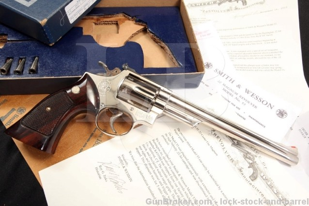 "Smith & Wesson S&W 53 .22 Centerfire Magnum ""Jet"" Nickel Double Action Revolver w/ Box & Letter C&R OK"