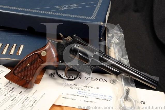 Smith & Wesson S&W 53-2 .22 Remington Jet Magnum 6″ Centerfire Double Action Revolver – Box & More