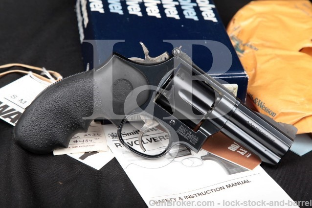 Smith & Wesson S&W 586-4 Combat Magnum, Blue 3″ .357 Mag Round Butt SA/DA Revolver & Box 1993-1999