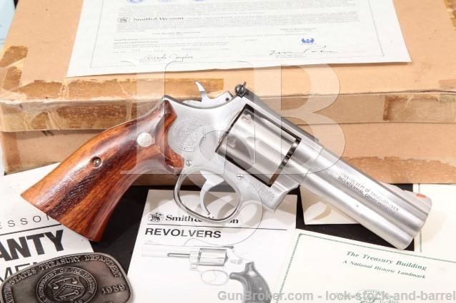 "Smith & Wesson S&W 686-3 U.S. Treasury & Access. Stainless 4"" SA/DA Revolver, 1989 .357 Magnum"