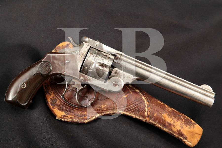 "Smith & Wesson S&W Model .44 DA 1st Model Top-Break, Nickel 6"" Double Action Revolver & Holster, MFD 1893 Antique"