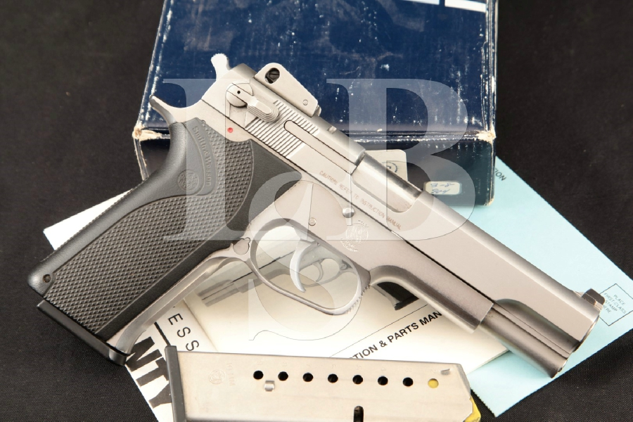 "Smith & Wesson S&W Model 1006, Satin Stainless Steel 5"" DA Semi-Automatic Pistol, 2 Mags & Case, MFD 1990s"