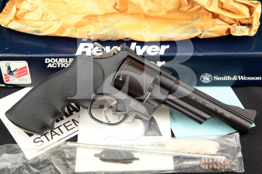 """Smith & Wesson S&W Model 25-7, The Model of 1989, Glass Bead Blue 5"""" 6-Shot, Double Action Revolver & Box, MFD 1989"""
