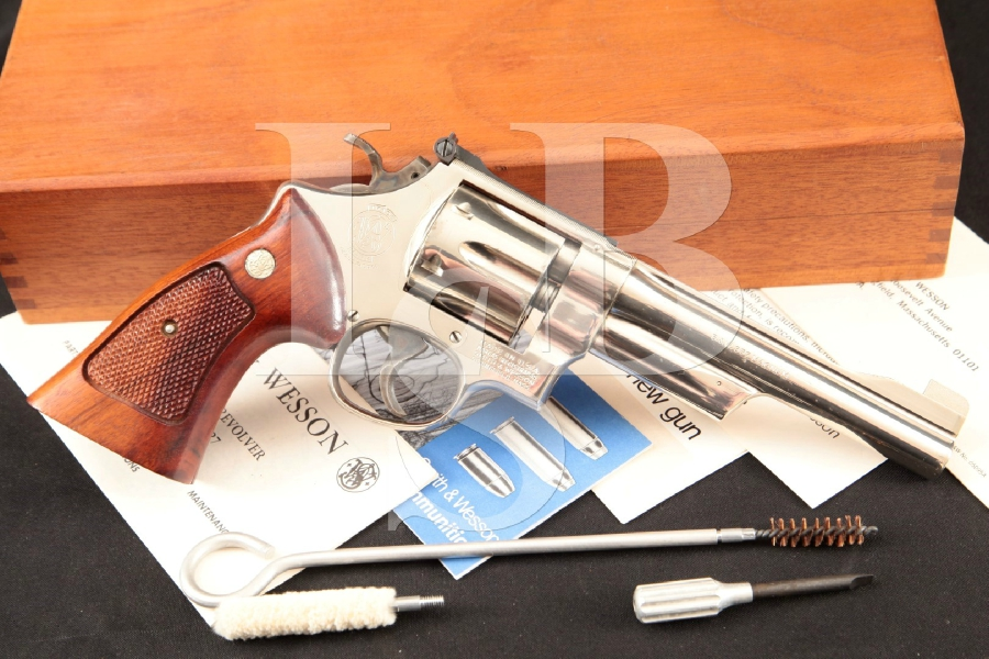 Smith & Wesson S&W Model 27-2, The .357 Magnum Square Butt N-Frame, Nickel Pinned 6″ 6-Shot Double Action Revolver & Case, MFD 1979