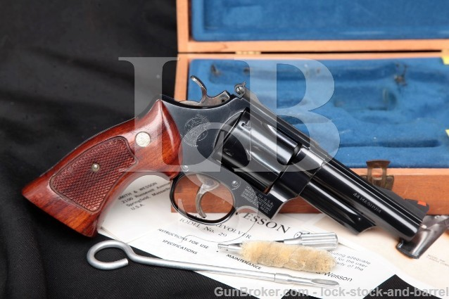 Smith & Wesson S&W Model 29-2 .44 Magnum, Blue 4″ SA/DA Revolver & Wood Presentation Case 1977-78