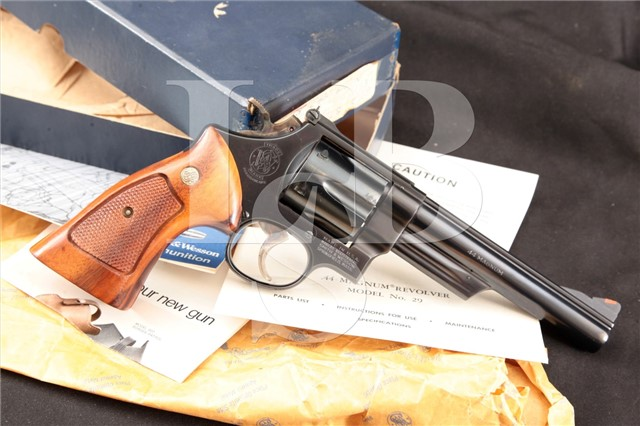 Smith & Wesson S&W Model 29-2 6″ .44 Magnum SA/DA Double Action Revolver & Box, MFD 1980