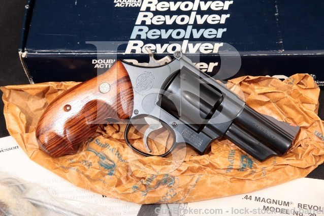 Smith & Wesson S&W Model 29-3 Lew Horton, 101224 .44 Mag Blue 3″ Double Action Revolver & Box 1985