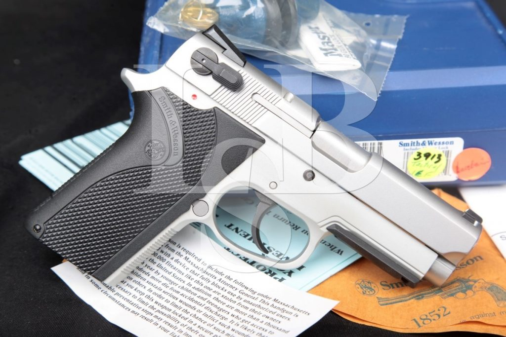 Smith & Wesson S&W Model 3913tsw 9 Tactical, Stainless & Alloy 3 1/2″ SA/DA Semi-Automatic Pistol, Box & Paperwork, MFD Modern 9mm Luger