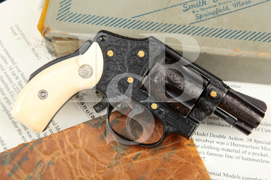 Smith & Wesson S&W Model 40 M40 'Centennial', Engraved & Gold Inlaid Blue 2 IN. .38 SPL 5-Shot Double Action Only Revolver & Box, MFD 1973