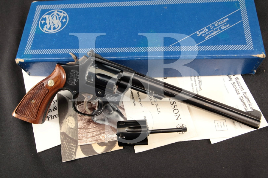 "Smith & Wesson S&W Model 48-4, The K-22 Masterpiece Magnum + .22 LR Cyl., Blue 8 3/8"" 6-Shot DA/SA Double Action Revolver & Box MFD 1981"