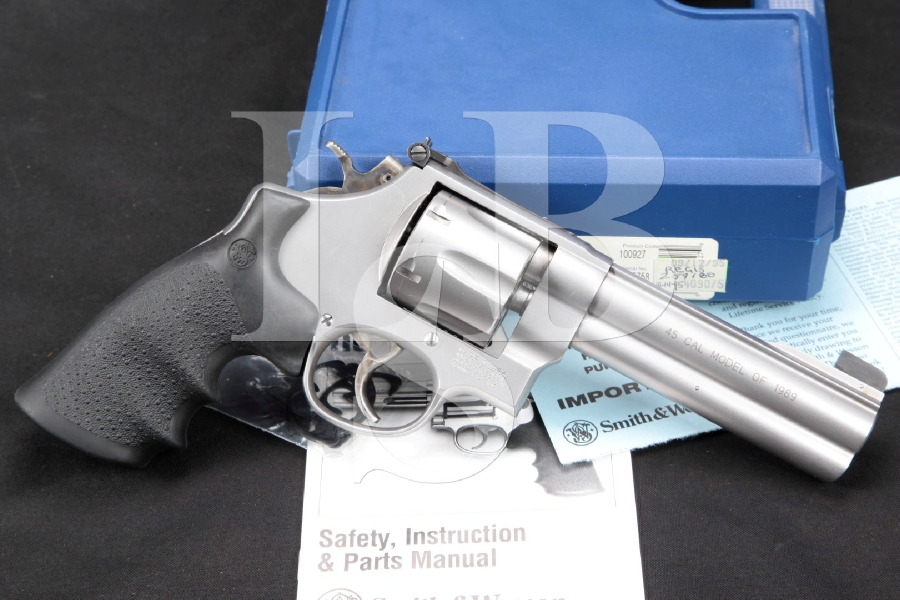 "Smith & Wesson S&W Model 625-4, The Model of 1989 Round Butt, Stainless 5"" .45 ACP Double Action Revolver & Case, MFD 1995"