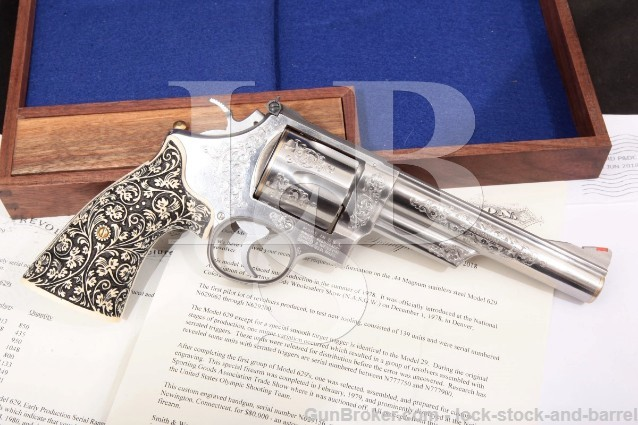 """Smith & Wesson S&W Model 629 .44 Magnum Stainless Engraved 6"""" Revolver & Presentation Case, MFD 1980"""
