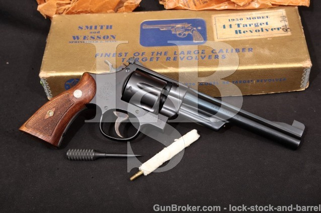 Smith & Wesson S&W Model of 1950 Target Pre-24 C&R Blue 6 1/2″ Revolver & Box 1954-1955 .44 Special