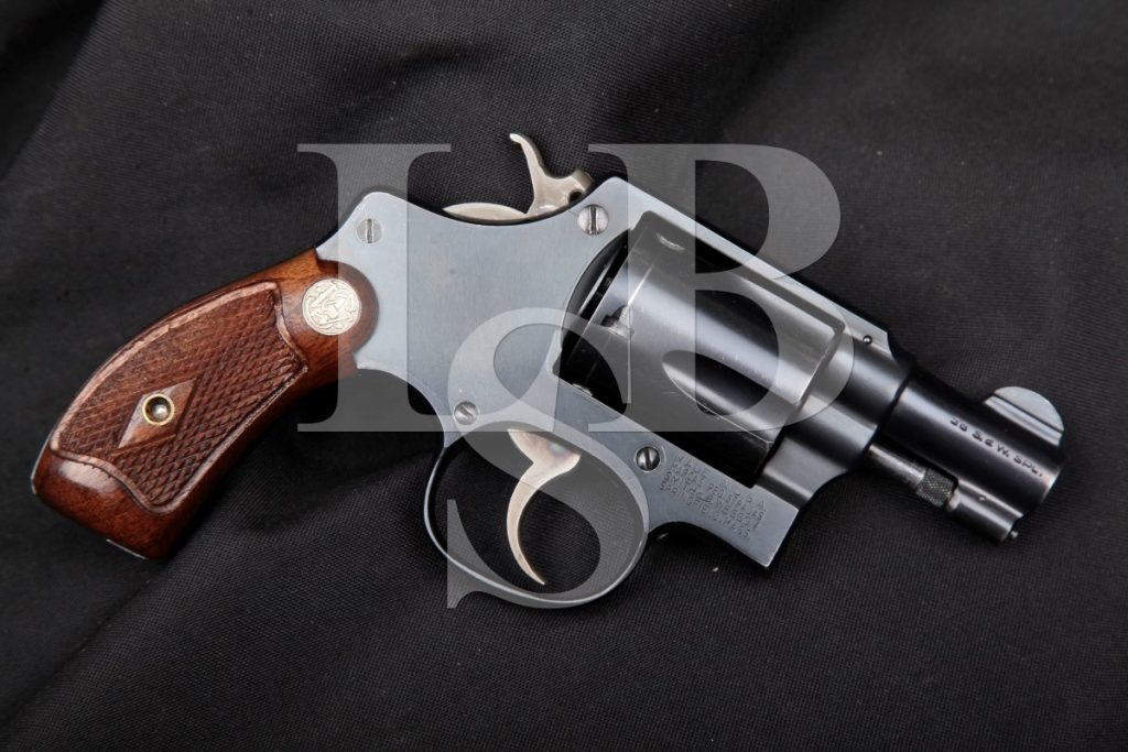 Smith & Wesson S&W Pre-Model 36, Blue 2″ Pinned Barrel 5-Screw Flat-Latch 5-Shot SA/DA Double Action Revolver, MFD 1950 C&R .38 Special