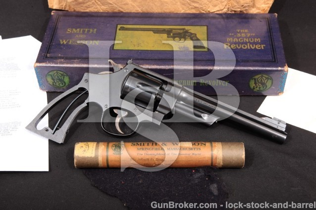 Smith & Wesson S&W The .357 Registered Magnum 1937 6 1/2″ Blued DA Revolver, Certificate, Tube & Box