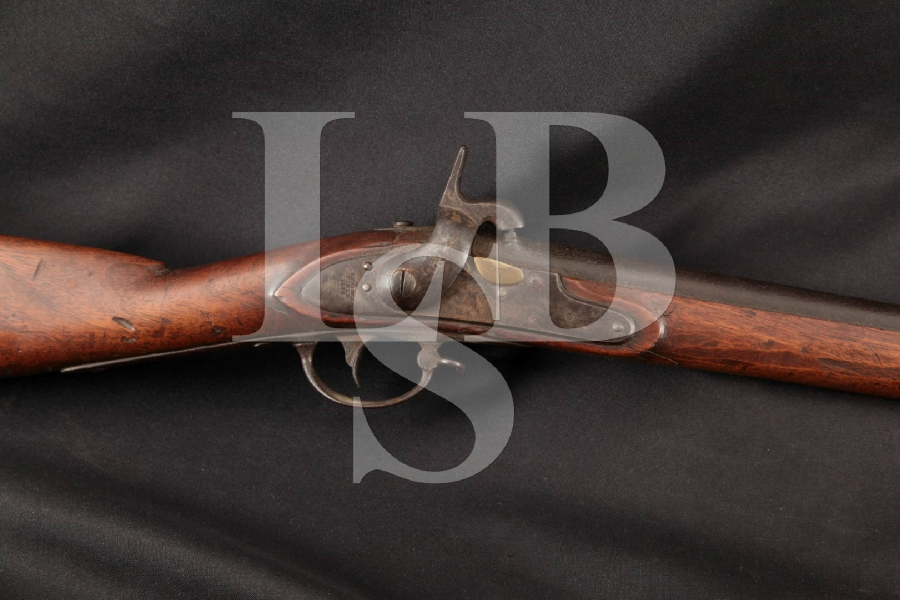 "Springfield 1835 / 1840 Conversion Model, U.S. Marked & Named Stock, Brown 42"" Single Shot Percussion Rifle, MFD 1838 Antique"