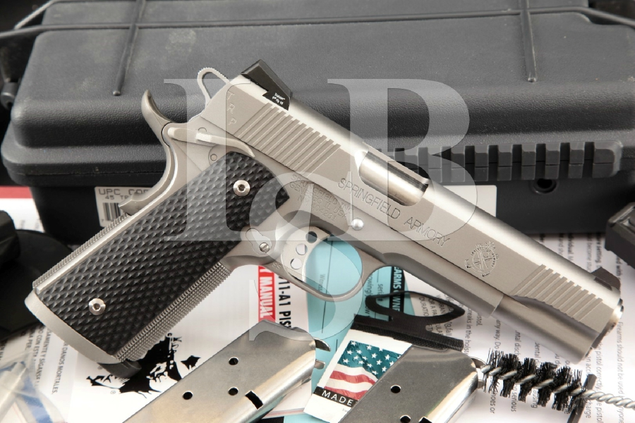"""Springfield Armory 1911-A1 TRP Tactical Response Model, Satin Stainless 5"""" SA Semi-Auto Pistol, Case & Accessories, MFD 2015"""