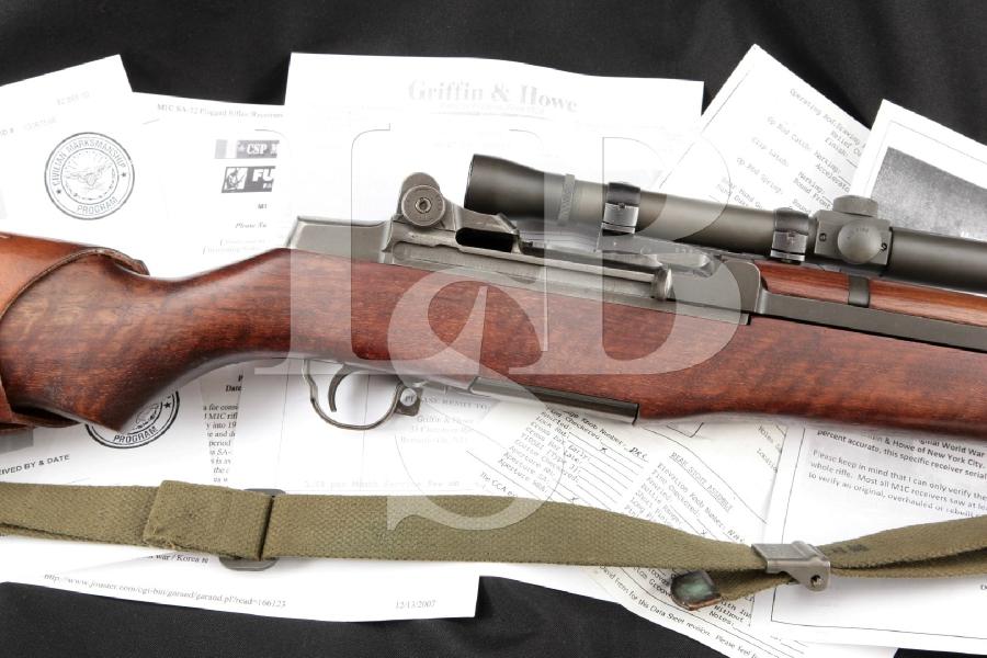"Springfield Armory M1C Garand Sniper, M82 Scope, Griffin & Howe Mount, Parkerized 24"" RARE Semi Automatic Rifle, MFD 1945 C&R"