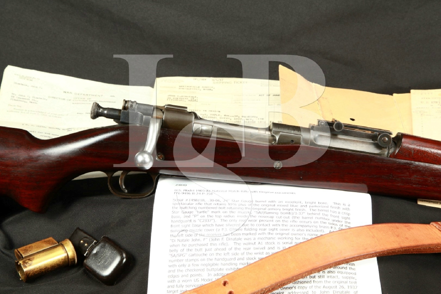 "Springfield Armory Model 1903A1 National Match, Star Gauged Barrel, 24"" Bolt Action Rifle, War Dept. Papers, MFD 1937 C&R - .30-06 Springfield"