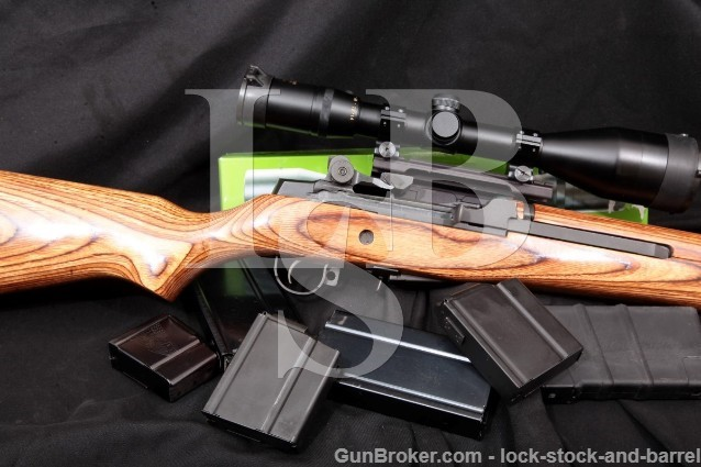 """Springfield M1A, NM Sights & Bedded 22"""" .308 Win Semi Auto Rifle & 4-14X56mm Government Model Scope"""
