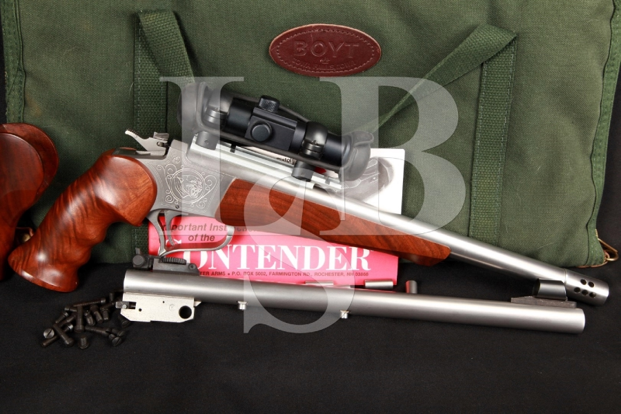 Stainless Steel Thompson Center Contender Single Shot Pisol, 2x Custom Barrels, Scope & Case