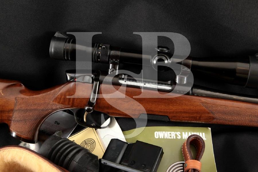 Steyr Mannlicher Model M Luxus, Redfield Scope & Accessories, Near Mint Blue 23 1/2 Spoon-Handle Bolt Action Rifle, MFD 1979