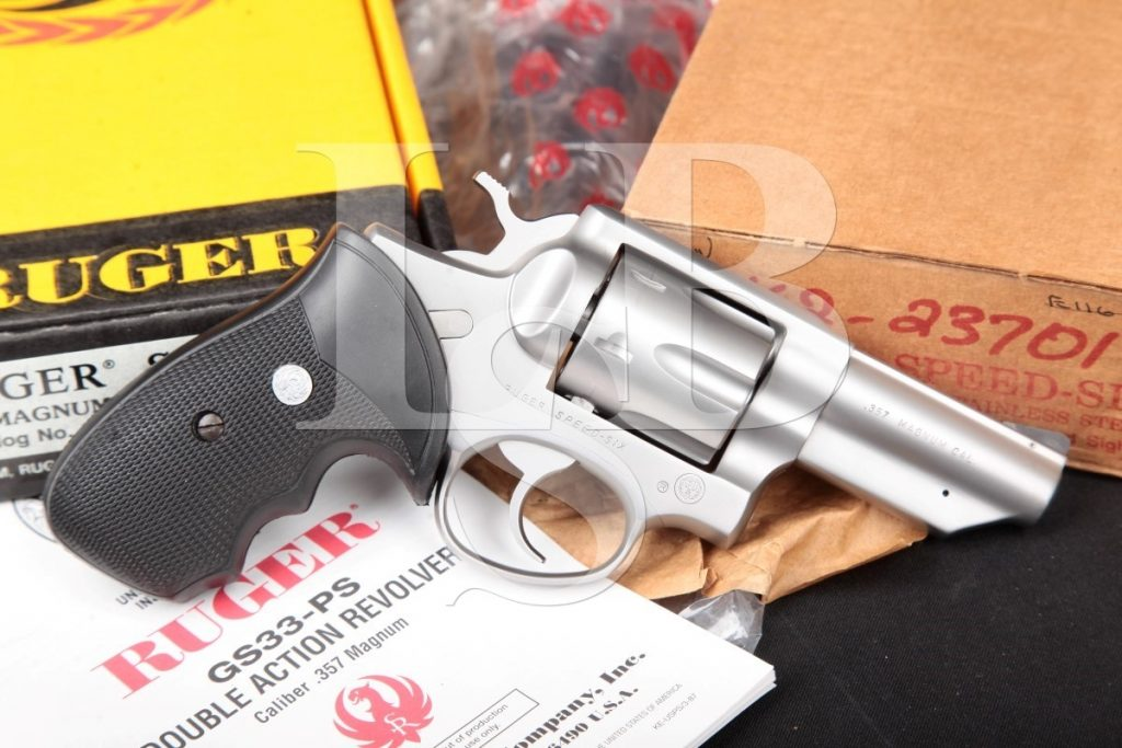 Sturm, Ruger & Co. Inc Speed Six Speed-Six, Stainless 3″ SA/DA Double Action Revolver, Box & Manual, MFD 1987 .357 Mag.