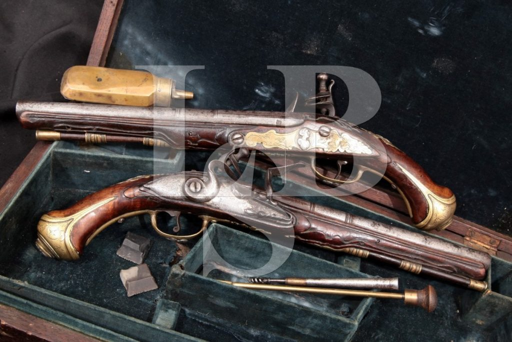 Unknown Cased Pair Of Dueling Pistols, Brass Silver & Steel 9″ Flintlock Pistols, Case & Accessories, MFD Atf Antique .54 Caliber Ball