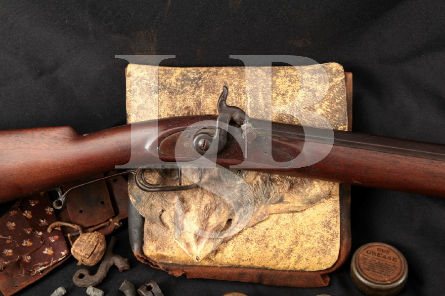 "Unknown Make Full-Stock Percussion Tennessee Double Set Trigger, Browned 43"" Single Shot Rifle & Extras, MFD 1870's Antique"