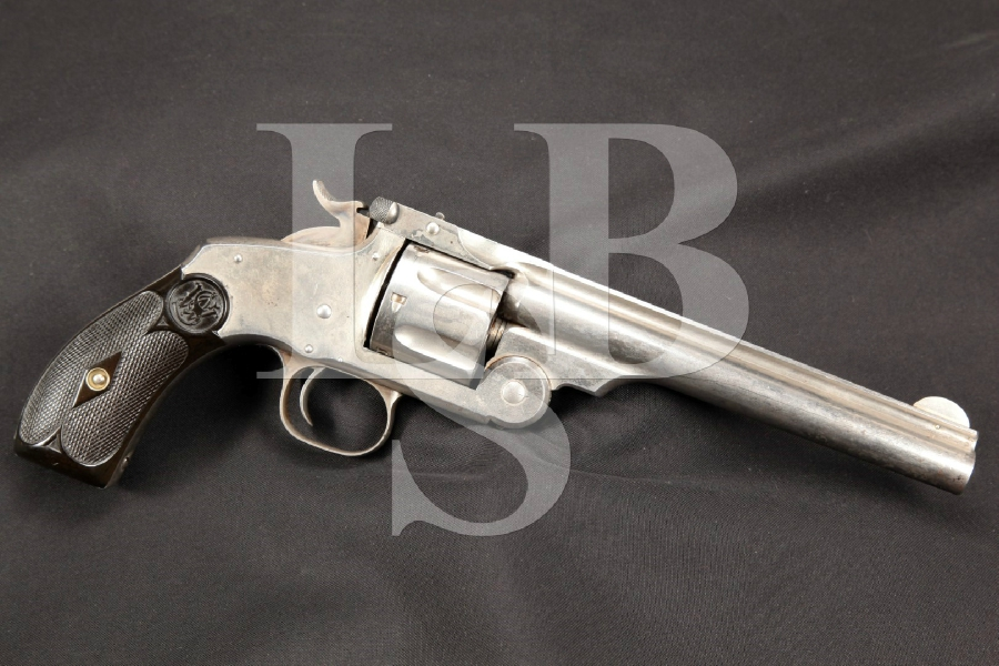"Very Nice Smith & Wesson S&W New Model No. 3 Top Break Revolver, Nickel 6 ½"" 44 Russian Single Action Revolver MFD 1881 Antique"