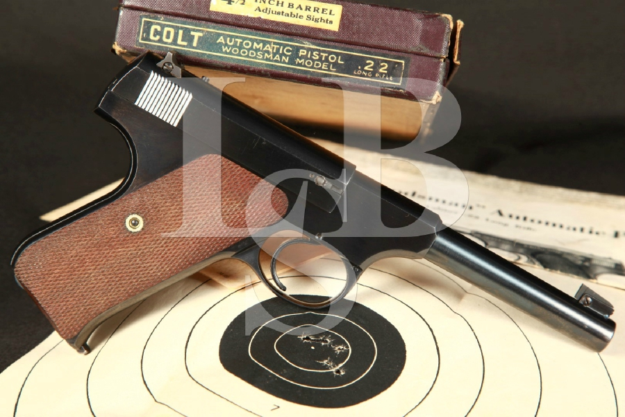 Very Sharp Pre-War Colt Woodsman Sport Model 1st Series Semi-Automatic Pistol & Matching Box, MFD 1941 C&R