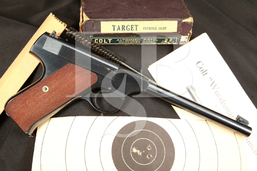 Very Sharp Pre-War Colt Woodsman Target Model 1st Series Semi-Automatic Pistol & Matching Box, MFD 1940 C&R