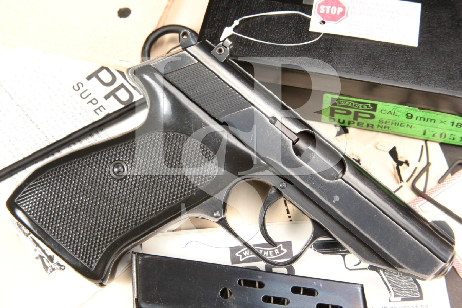 "W. German Made Walther Model PP Super Cal, Blue 3.6"" Semi Automatic Pistol, Box & Paperwork, MFD 1977"