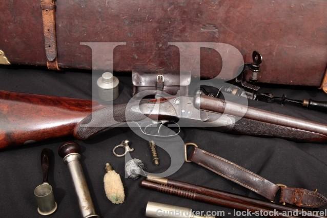W&C Scott & Son Hammerless Crystal Indicator 12 Ga Block Safety Side by Side, SxS Shotgun, MFD 1885