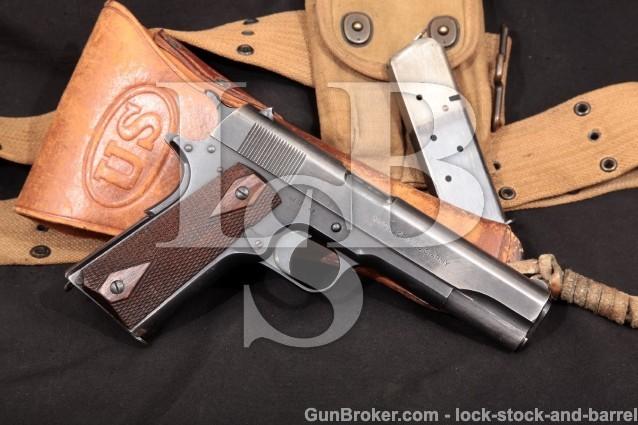 WWI Colt US Army Model 1911 45 ACP Pistol MFD 1918 Complete Holster & Belt Rig, All Original, C&R OK