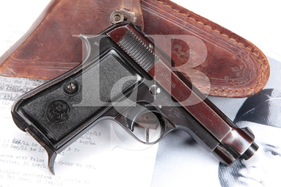 WWII Bringback Italian Army Issued Beretta Model 1934, Blue 3 3/8 Semi-Automatic Pistol & Holster, MFD 1942 C&R